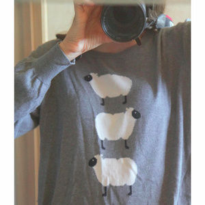 Old Navy, Sweater, Sheep, Gray
